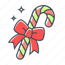 bow, bowknot, candy, candy cane, christmas, sweets icon