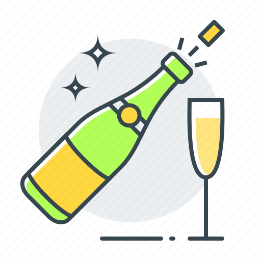champagne, christmas, event, new year icon