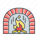 christmas, cosiness, fire, fire-place, place icon