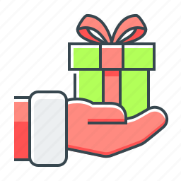 christmas, gift, give, give a gift, hand, surprise icon