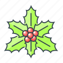 christmas, decoration, holly, xmas icon