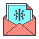 card, christmas, letter, mail, postcard, snowflake icon