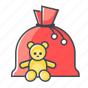 bag, christmas, santa's bag, toys icon