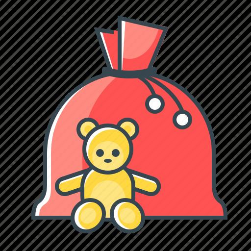 bag, christmas, santa's bag, toys icon