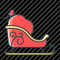 bag, christmas, christmas delivery, delivery, santa's bag, sledge icon