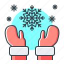 christmas, hands, snow, snowflake, winter icon