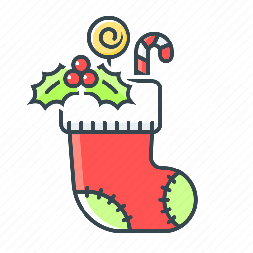 candies, candy cane, christmas, holly, sock, sweets icon
