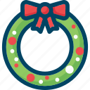 christmas, decoration, new year, wreath, xmas icon