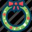 christmas, decoration, new year, wreath, xmas icon