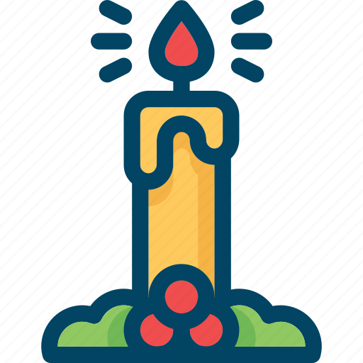 candle, christmas, fire, flame, mistletoe, new year, xmas icon
