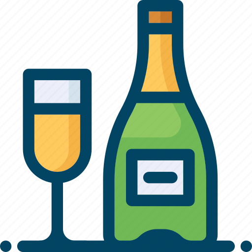 bottle, champagne, christmas, drink, glass, new year, xmas icon