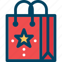 bag, christmas, new year, sale, shopping, star, xmas icon