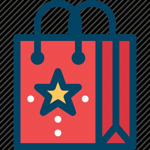 bag, christmas, new year, sale, shopping, star, xmas icon