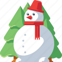 christmas, pine, decoration, xmas, snowman, tree, snow