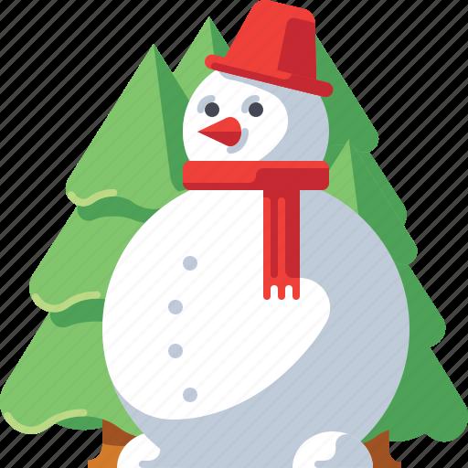 Christmas, decoration, pine, snow, snowman, tree, xmas icon - Download on Iconfinder