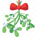bow, celebration, christmas, decoration, holiday, mistletoe, xmas