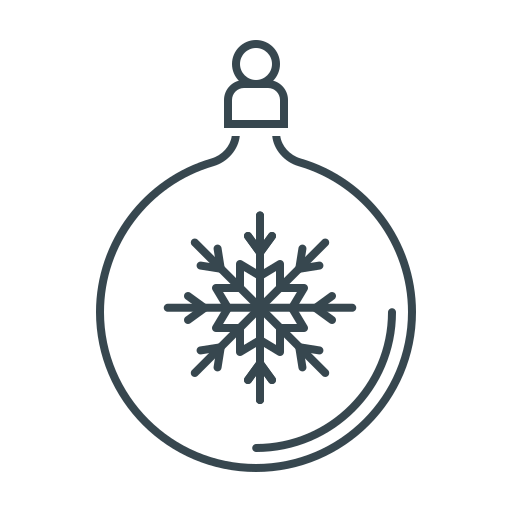 ball, christmas, decoration, new year, snowflake, xmas icon