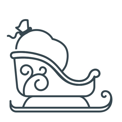 christmas, christmas delivery, delivery, santa bag, sledge icon