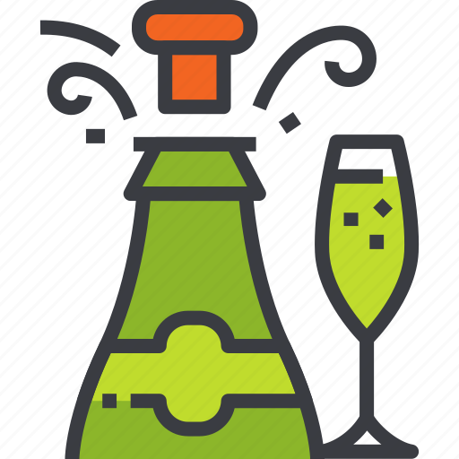alcohol, bottle, champagne, glass, popping, splash, wine icon
