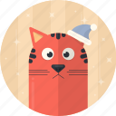 cat, cap, christmas, celebration, decoration, holiday, xmas