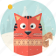 cat, celebration, christmas, forest, scarf, snow, xmas icon