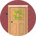 celebration, christmas, decoration, door, holiday, snow, xmas icon