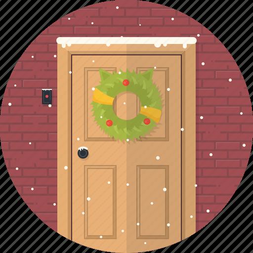celebration, christmas, decoration, door, holiday, snow, xmas icon