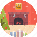 cat, celebration, christmas, decoration, fireplace, tree, xmas icon