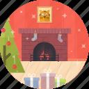 tree, cat, fireplace, christmas, celebration, decoration, xmas icon