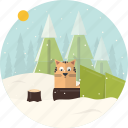 cat, celebration, christmas, forest, snow, tree, xmas icon