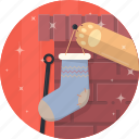 cat, celebration, christmas, fireplace, paw, sock, xmas icon