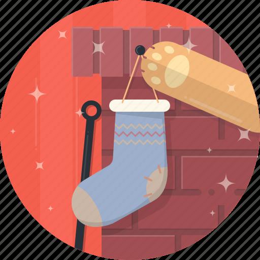 cat, celebration, christmas, fireplace, paw, sock, xmas icon