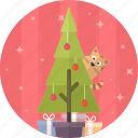 gift, tree, cat, christmas, celebration, decoration, xmas