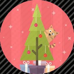 cat, celebration, christmas, decoration, gift, tree, xmas icon