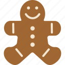 bread, cookie, ginger, gingerbread, man icon