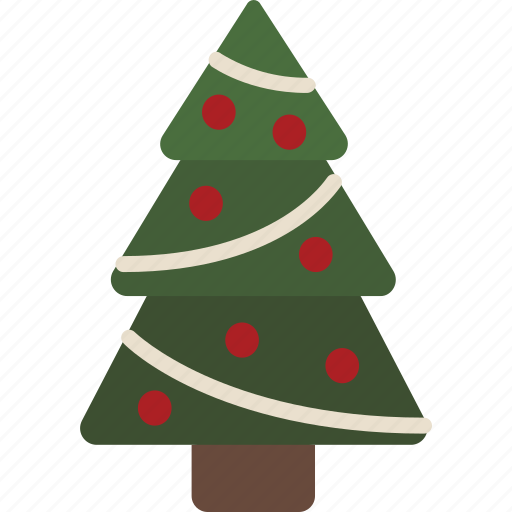 Christmas Tree Facebook Icon: Christmas, Christmas Tree, Decorated, Ornaments, Tinsel
