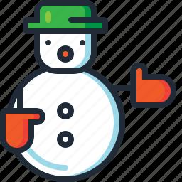 christmas, decoration, fun, hat, snow man, snowman, xmas icon