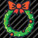 bow, christmas, decoration, garland, ornament, wreath, xmas