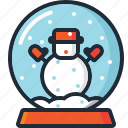 ball, christmas, decoration, snow, snow globe, snowman, xmas icon