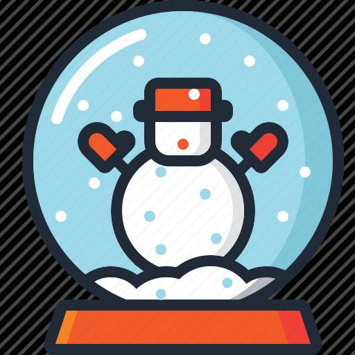 ball, christmas, decoration, snow, snow globe, snowman, xmas icon