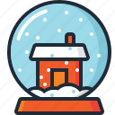 ball, christmas, decoration, house, snow, snow globe, xmas icon