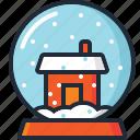 ball, christmas, decoration, house, snow, snow globe, xmas icon