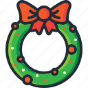bow, christmas, decoration, garland, ornament, wreath, xmas icon