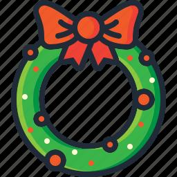 bow, christmas, decoration, garland, ornament, wreath, xmas icon