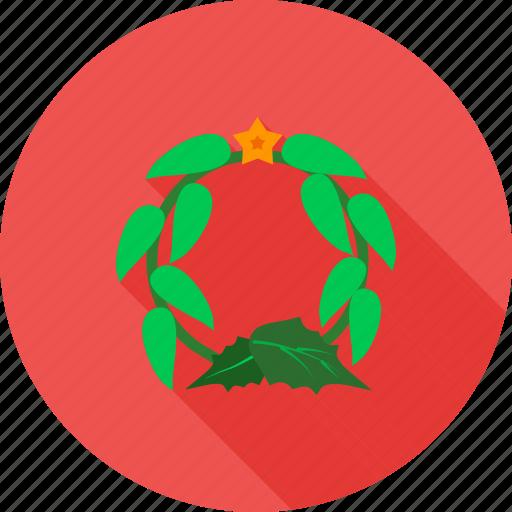 christmas, decoration, flowers, roses, wreath, xmas decoration icon