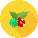 christmas, decorate, decoration, holly, mistletoe, xmas icon