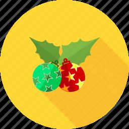 christmas, decorate, decoration, holly, mistletoe, xmas icon