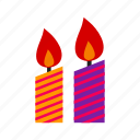 candle, light, decoration, flame, candle light, party, celebration icon