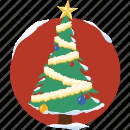 christmas tree, decoration, snow, star, tree, winter, xmas icon