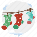 christmas, connection, decoration, gift, snow, sock, stockings icon